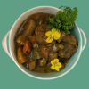 Braised Winter vegetables in red wine with herb dumplings hand made by Plush Pantry