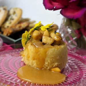 Apple Sponge and Caramel Pudding