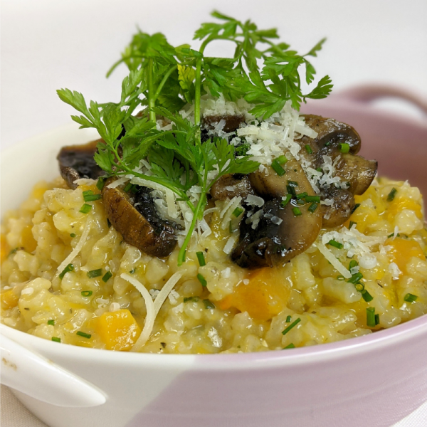 Vegetarian Mushroom and Roasted Butternut Squash Risotto hand made by Plush Pantry