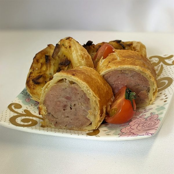 Mini pork sausage rolls Leek and gruyere cheese tartlet